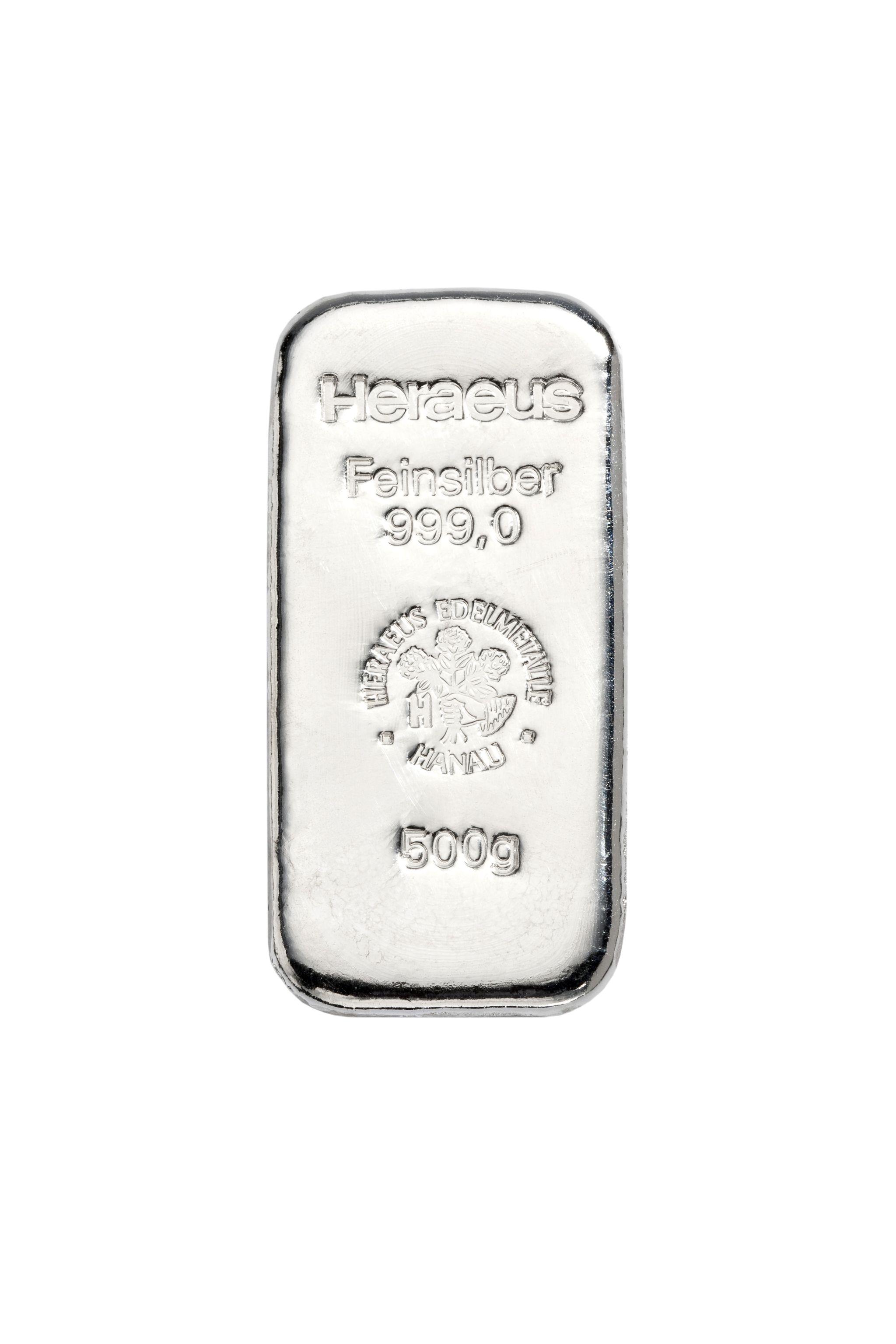 500g Heraeus Silberbarren