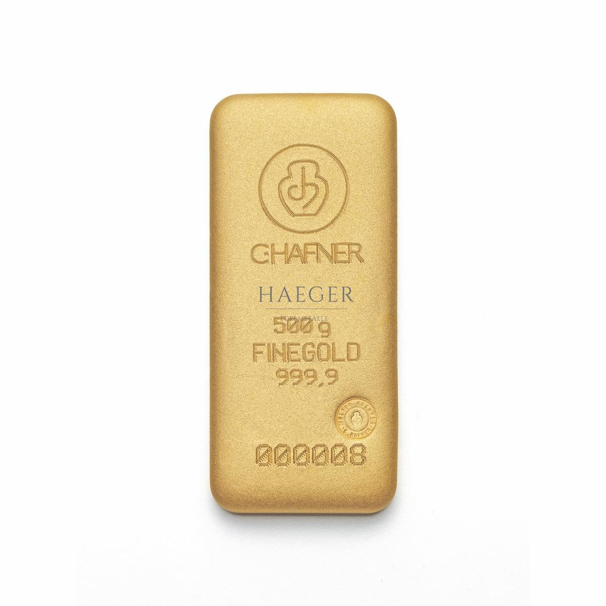 500 g C. Hafner Goldbarren Neuware