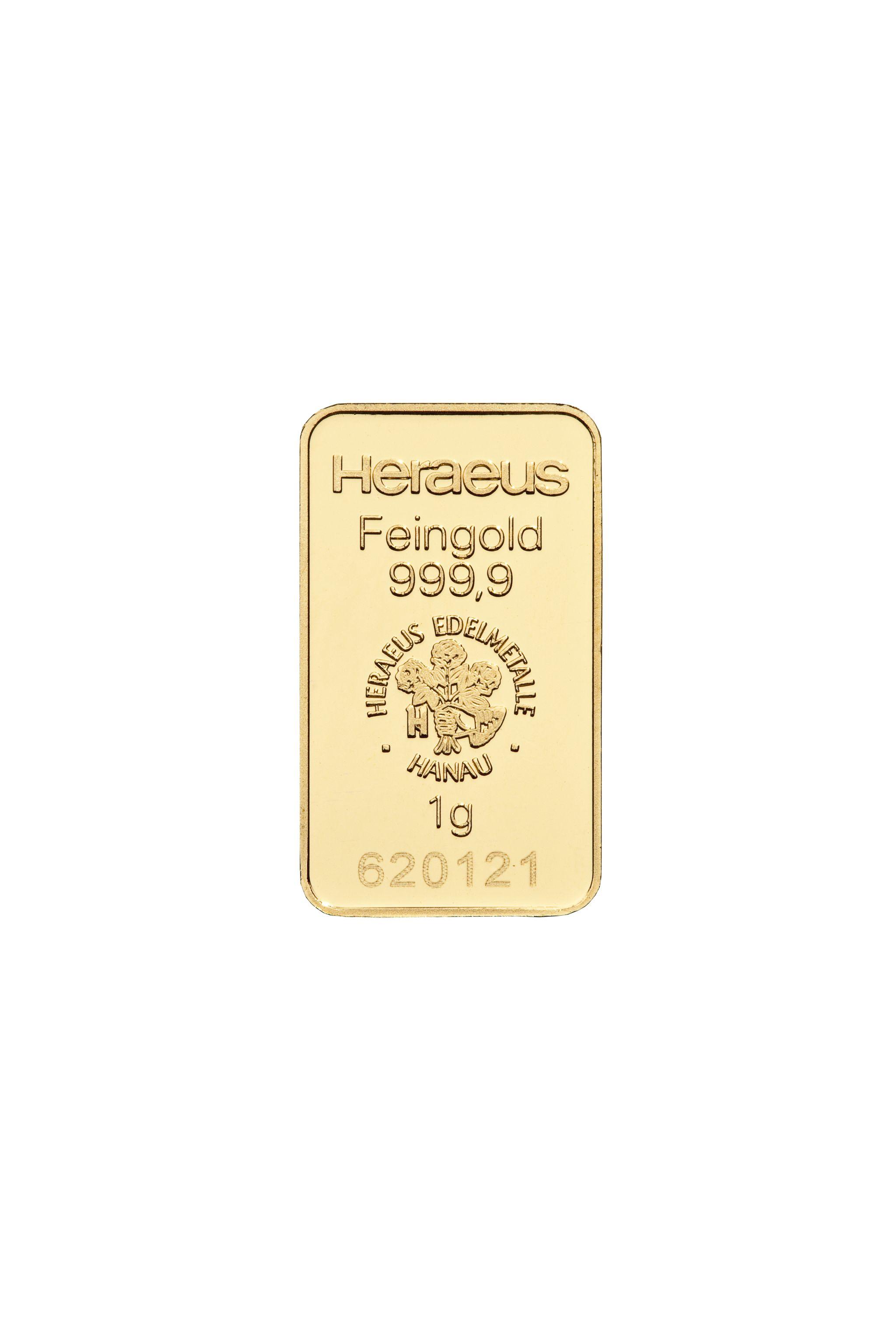 1 g  Heraeus Goldbarren