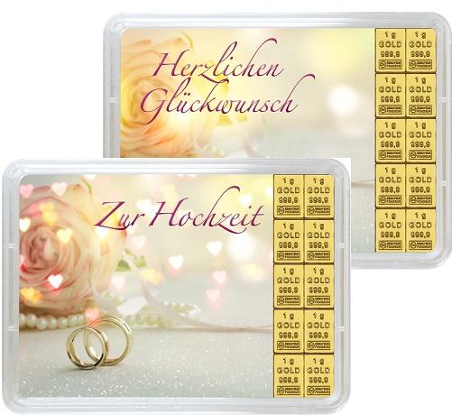"""10 g Goldbarren Geschenkbarren """"Hochzeit"""""""