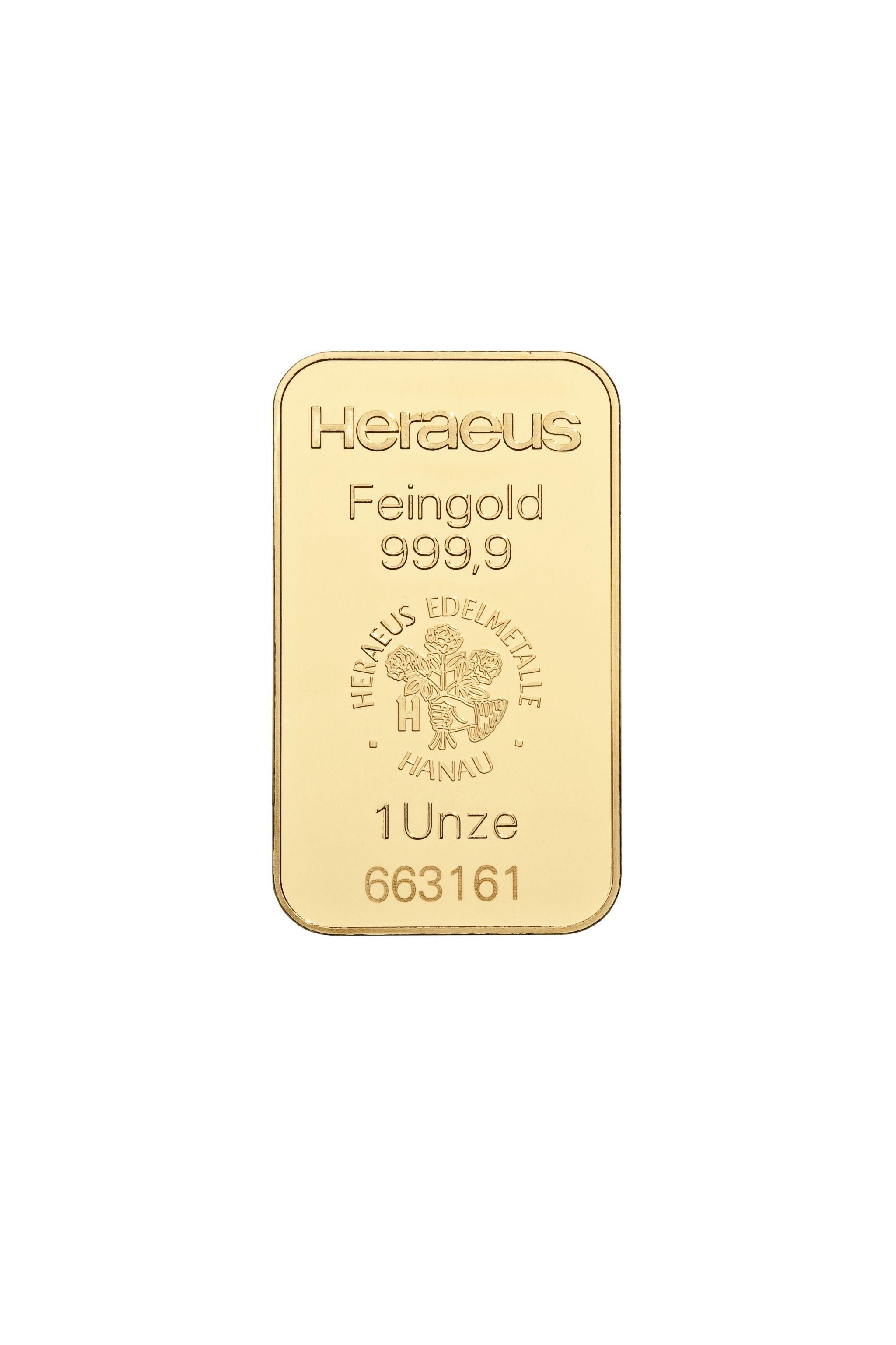 1 Unze (oz) Heraeus/Umicor/Valcambi/Pamp Goldbarren Neuware