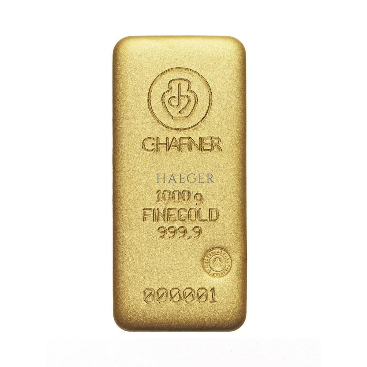 1000g Goldbarren Hafner Guss c