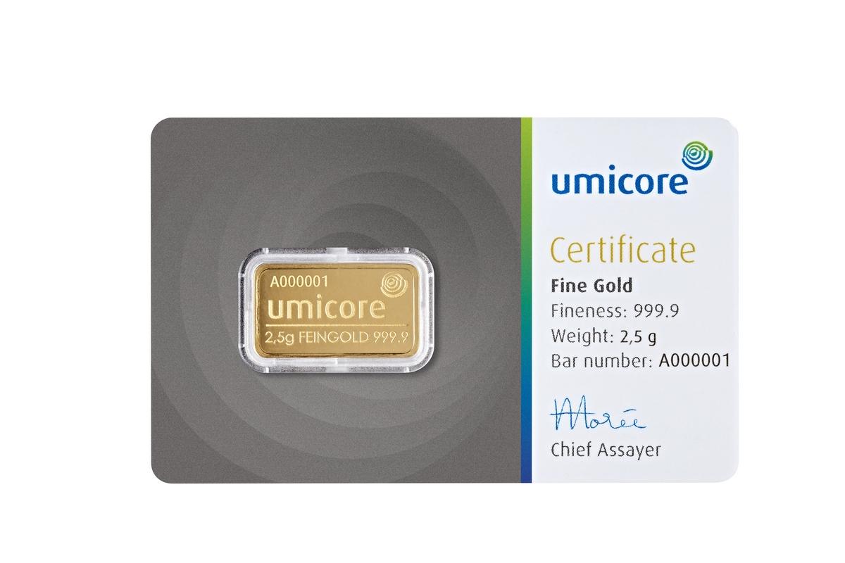 2,5 g Umicore/Valcambi/Heraeus Goldbarren Neuware
