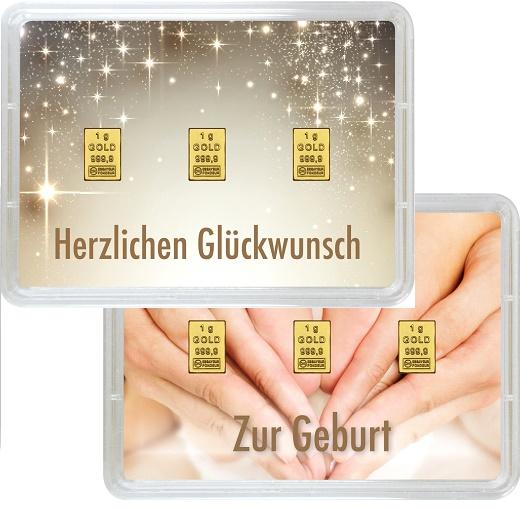 """3 g Goldbarren Geschenkbarren """"Geburt"""""""