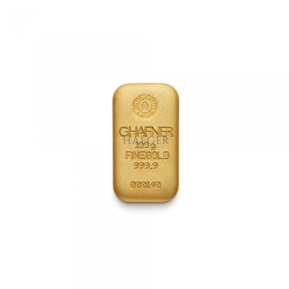 100g Goldbarren Hafner Guss c