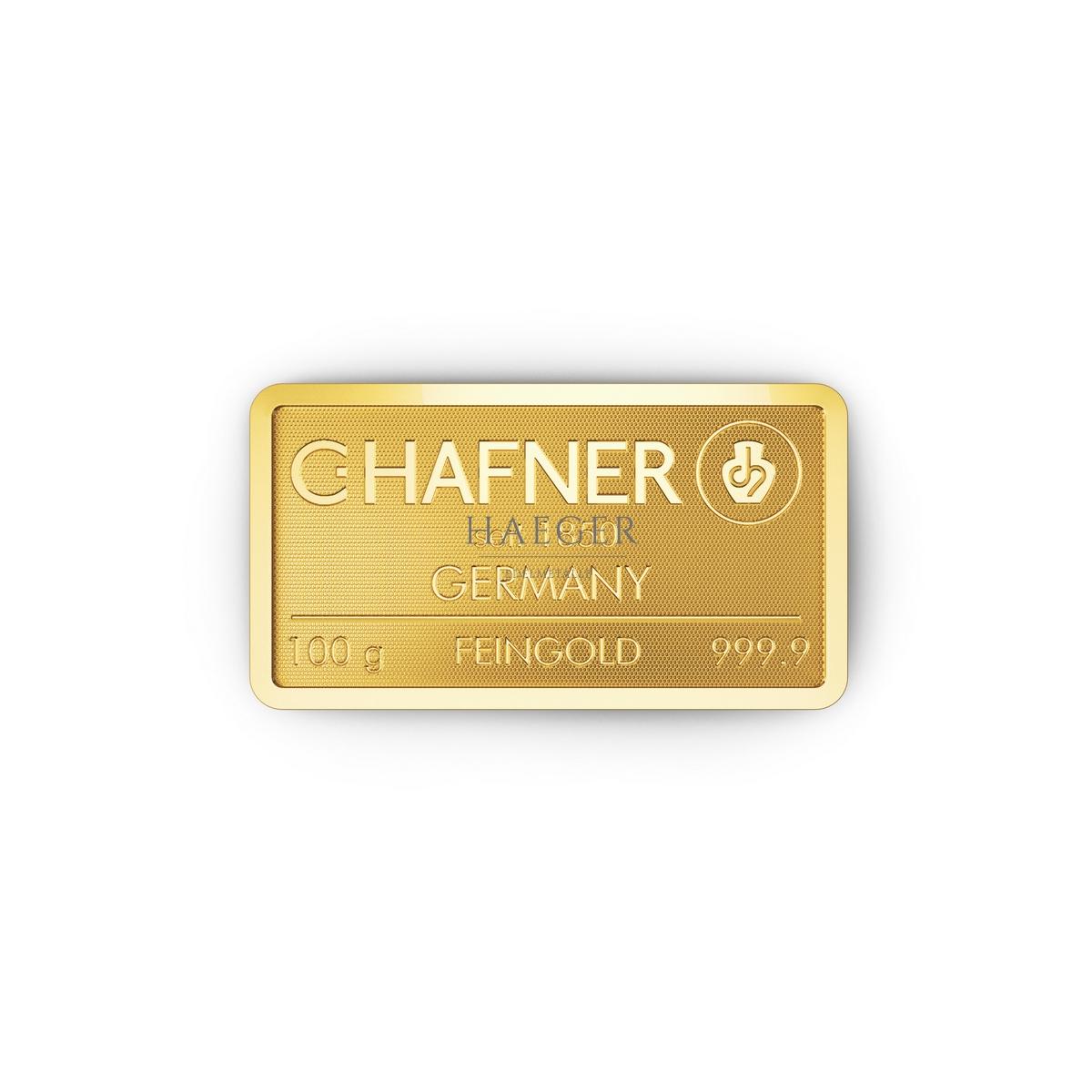 100g Goldbarren Hafner c