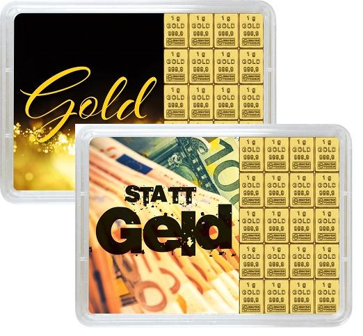 """20 g Goldbarren Geschenkbarren """"Gold statt Geld"""""""