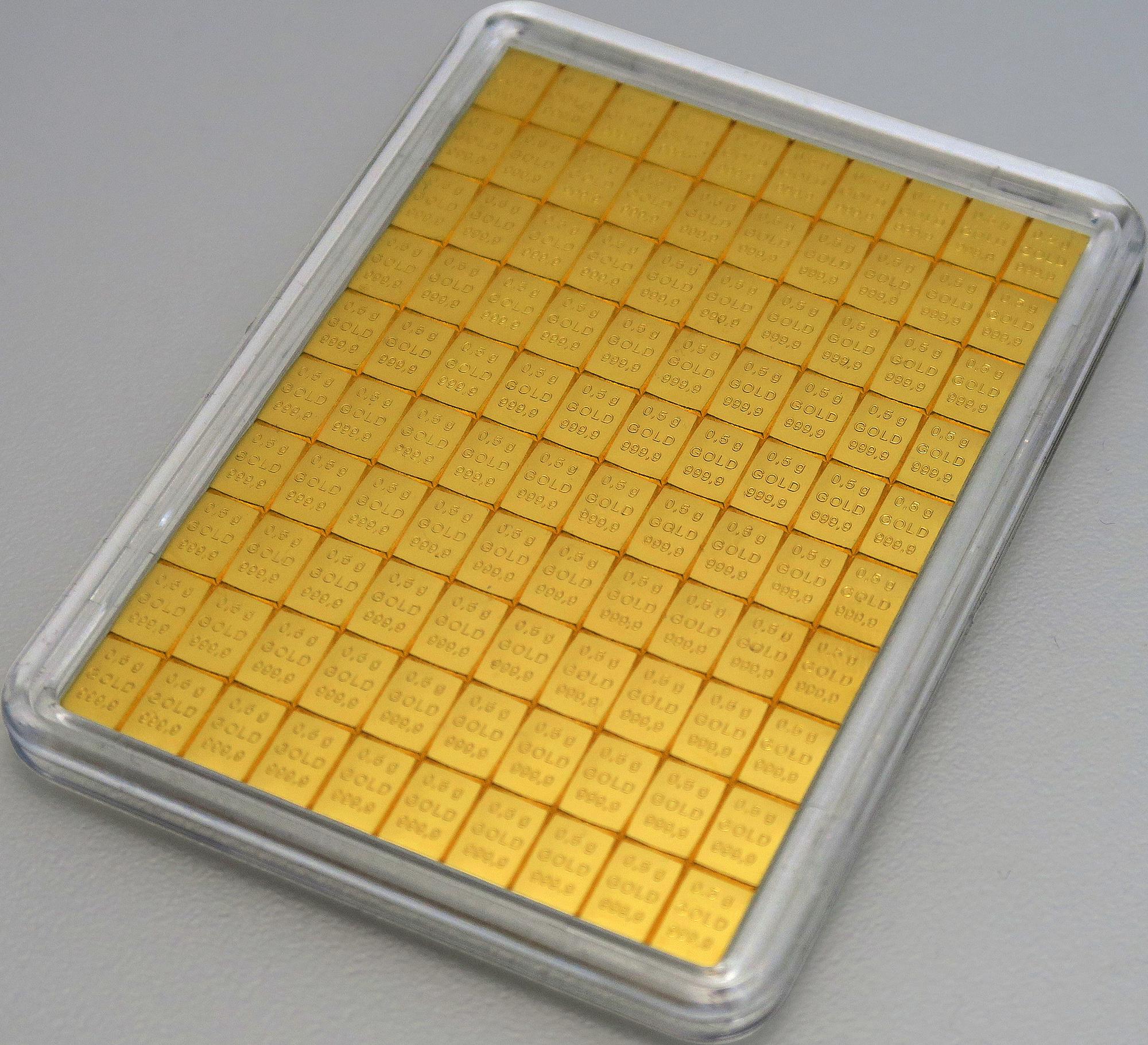 50 g (100 x 0,5 g Goldbarren) Valcambi CombiBar