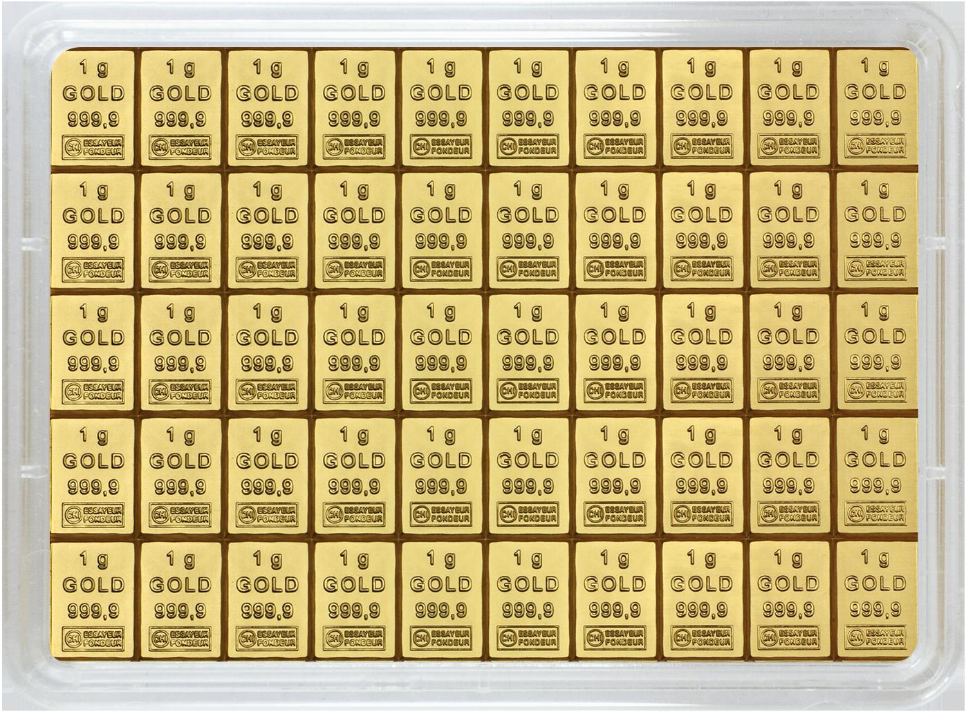 50 g (50 x 1 g Goldbarren) Valcambi CombiBar