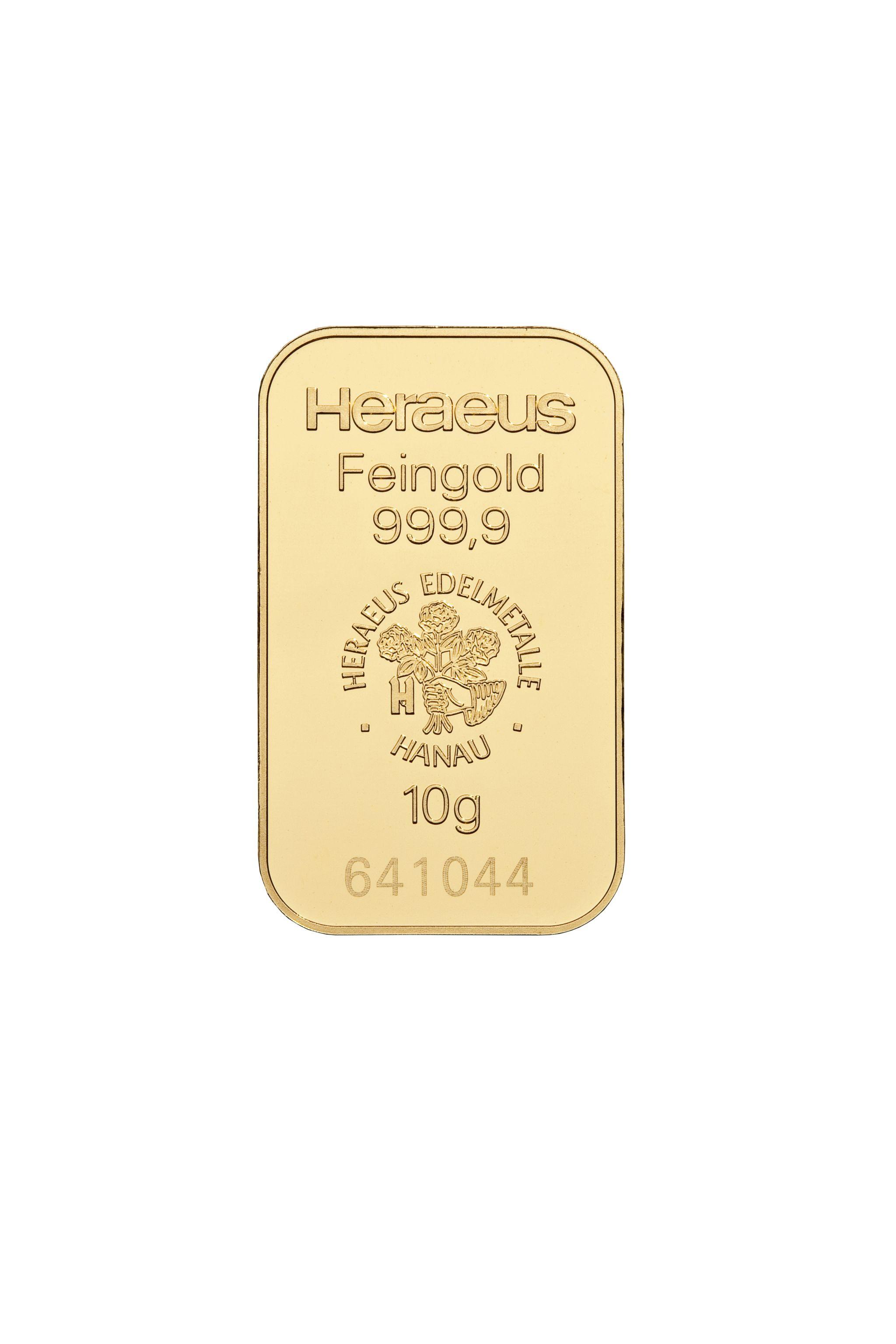 10 g Heraeus Goldbarren