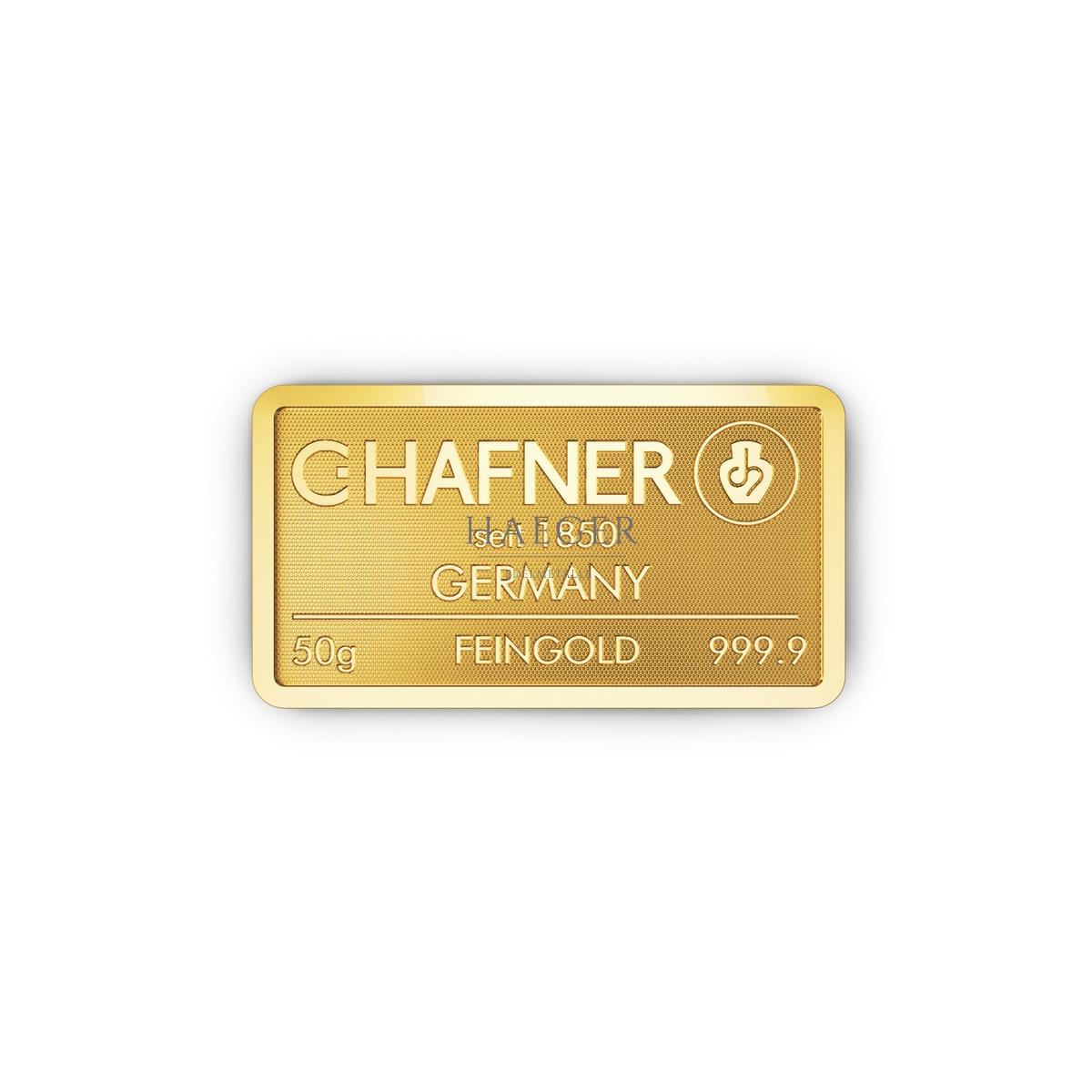 50g Goldbarren Hafner c