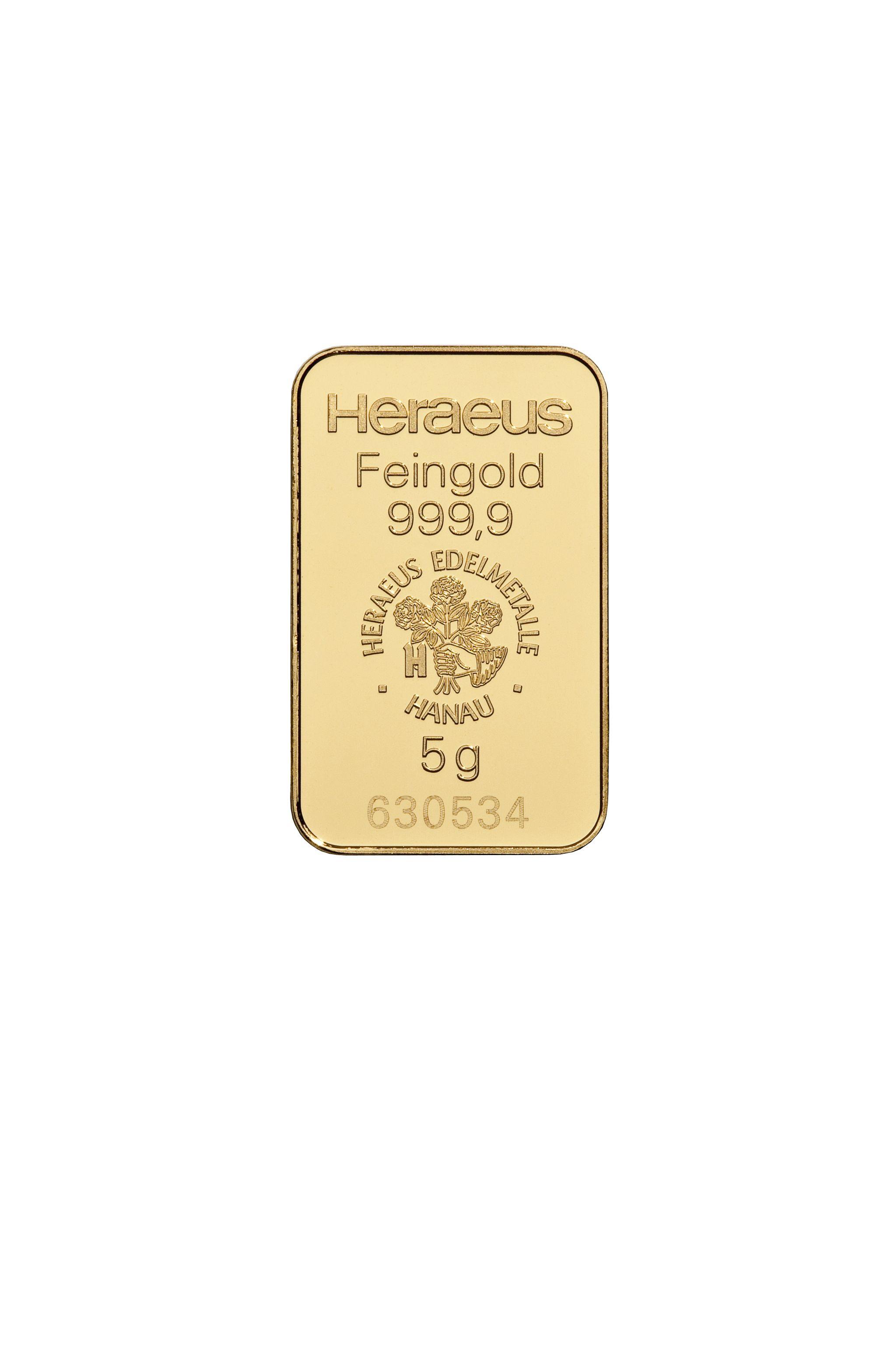 5 g Heraeus/Umicor/Valcambi/Pamp Goldbarren