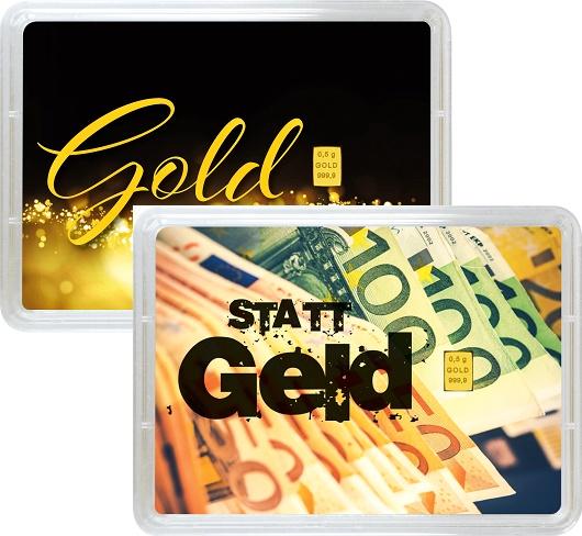 """0,5 g Goldbarren Geschenkbarren """"Gold statt Geld"""""""